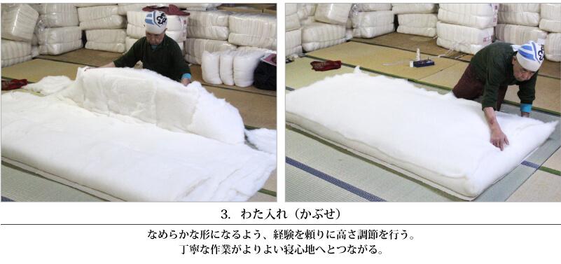 綿布団の手作り職人風景