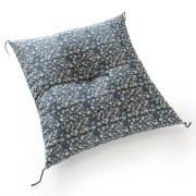 職人手作り座布団、インド綿シードコットンを100%、小絞花 青色
